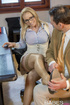 Hot Euro slut in stockings fucked by her handsome boss