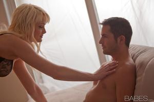 Hot blondie in black lingerie pleasing her boyfriend - XXXonXXX - Pic 1