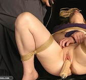 Sweet little tied up gal gets a nice wax treatment