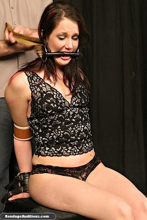 Tied up lady shows her perfect round but - XXX Dessert - Picture 9