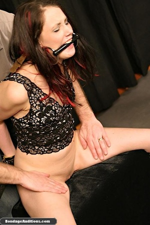 Tied up lady shows her perfect round but - XXX Dessert - Picture 11