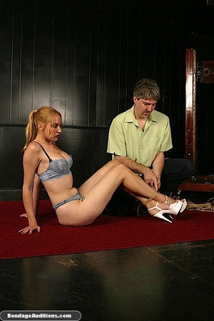 Sexy blonde babe gets hogtied and waxed  - XXX Dessert - Picture 1