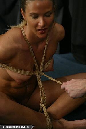 Blonde chick in bondage sucks a dildo wi - XXX Dessert - Picture 3