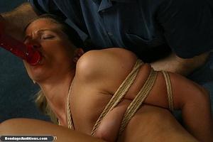 Blonde chick in bondage sucks a dildo wi - XXX Dessert - Picture 10