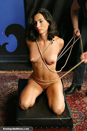 Bondage model gets two dildos up her smo - XXX Dessert - Picture 2