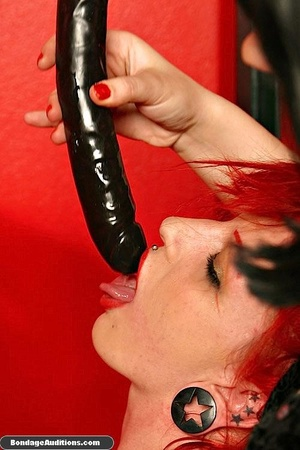 Redhead hottie gets tied and sucks a bla - XXX Dessert - Picture 10