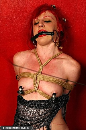 Redhead hottie gets tied and sucks a bla - XXX Dessert - Picture 12