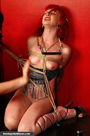 Redhead hottie gets tied and sucks a bla - XXX Dessert - Picture 16