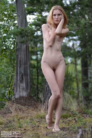 Beautiful redhead lady takes off her clothes outdoors - XXXonXXX - Pic 15