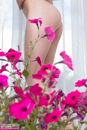 Blonde darling posing totally naked with her flowers - XXXonXXX - Pic 20