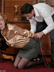 Slender blonde with stockings enjoys in spanking - XXXonXXX - Pic 1