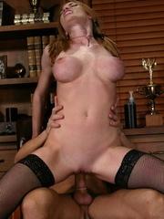 Slender blonde with stockings enjoys in spanking - XXXonXXX - Pic 10