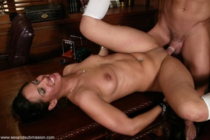 Brunette secretary gets punished by her perverse boss with a big dick - XXXonXXX - Pic 14