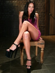 Busty raven haired bitch gets gagged and drilled - XXXonXXX - Pic 1