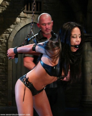 Busty raven haired bitch gets gagged and drilled by a stud - XXXonXXX - Pic 3