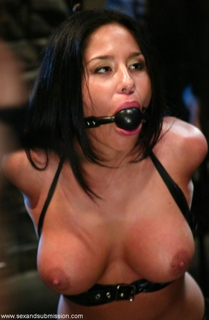 Busty raven haired bitch gets gagged and drilled by a stud - XXXonXXX - Pic 4