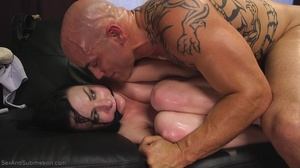 Bald inked hunk fucks a dark haired babe with so much passion - XXXonXXX - Pic 7