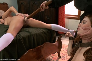 Horny priest screws two young brunettes in bondage - XXXonXXX - Pic 5