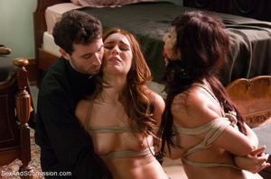Horny priest screws two young brunettes in bondage - XXXonXXX - Pic 13