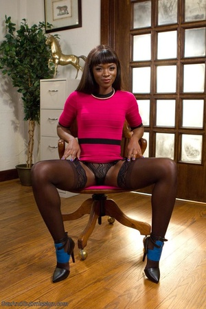 Chocolate beauty enjoys bondage action in her freaky office - XXXonXXX - Pic 1