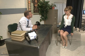 Blonde MILF with glasses gets rammed so rough in the office - XXXonXXX - Pic 2