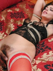Brunette lady in red stockings get a big black - XXXonXXX - Pic 6