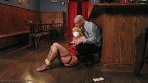 Tattooed hunk screws a wonderful blonde lady in the bar - XXXonXXX - Pic 8