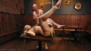 Tattooed hunk screws a wonderful blonde lady in the bar - XXXonXXX - Pic 14