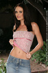 Seductive brunette in jeans skirt and pink panties…