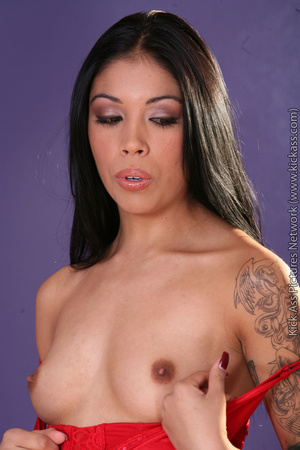 Slim tattooed Chica in red top and black panties gets licked and banged hard - XXXonXXX - Pic 2