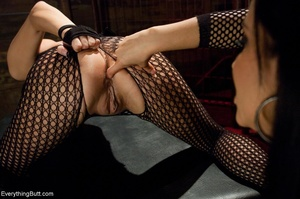 Females in fishnets look hot when playin - XXX Dessert - Picture 3
