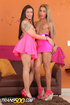 Attractive shemale divas in black tops and pink skirts butt banging in