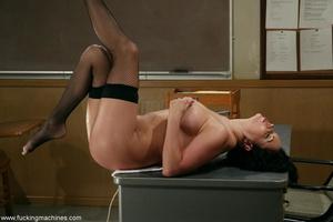 Big-breasty brunette teacher rides the machine dildo - XXXonXXX - Pic 11