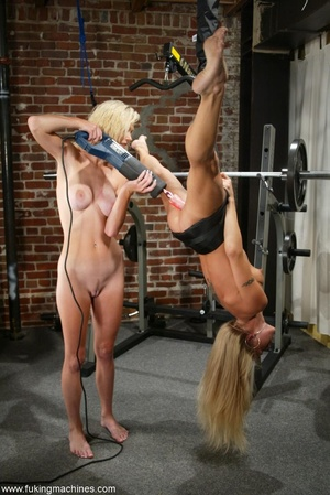 Two blonde-haired sexy peaches have fun in the gym - XXXonXXX - Pic 14