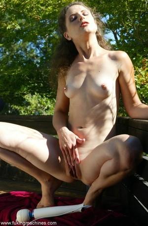 Woman has dirty fun with sex machine in the back yard - XXXonXXX - Pic 3
