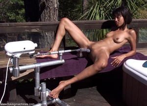 Sexy Ebony gladly tries variable sex machines outdoors - XXXonXXX - Pic 5