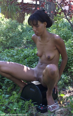 Sexy Ebony gladly tries variable sex machines outdoors - XXXonXXX - Pic 17