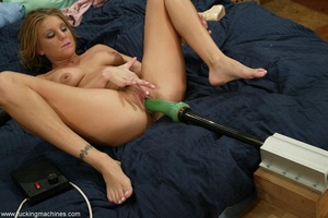 Woman has a mechanized dildo to feed sex hunger in the bed - XXXonXXX - Pic 14