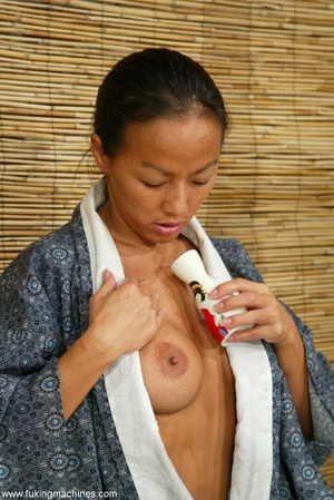 Asian cutie gets her puss banged by the powered dildo - XXXonXXX - Pic 1