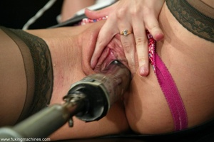 Machine driven dildos make beauty in stockings excited - XXXonXXX - Pic 3