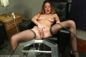 Machine driven dildos make beauty in stockings excited - XXXonXXX - Pic 8