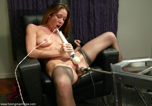 Machine driven dildos make beauty in stockings excited - XXXonXXX - Pic 9
