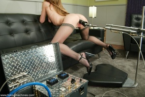 Machine driven dildos make beauty in stockings excited - XXXonXXX - Pic 12