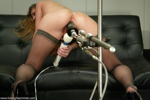 Machine driven dildos make beauty in stockings excited - XXXonXXX - Pic 13