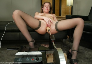 Machine driven dildos make beauty in stockings excited - XXXonXXX - Pic 16