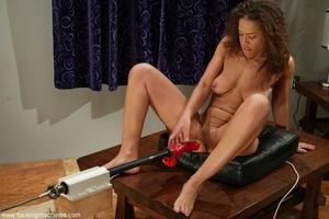 Ebony lady gets huge sex toys inside her gentle slits - XXXonXXX - Pic 16