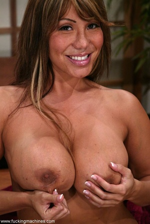 Oiled MILF with huge shapes gets drilled by machine - XXXonXXX - Pic 2