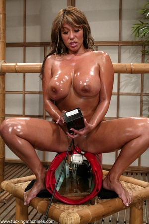 Oiled MILF with huge shapes gets drilled by machine - XXXonXXX - Pic 9