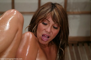 Oiled MILF with huge shapes gets drilled by machine - XXXonXXX - Pic 10