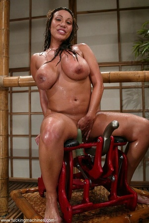 Oiled MILF with huge shapes gets drilled by machine - XXXonXXX - Pic 16